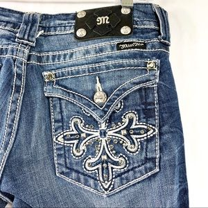 Miss Me Boot Cut Embellished Distressed Jeans 30